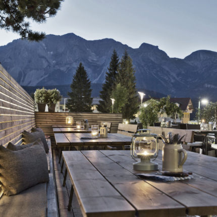 ARX beer lounge with Dachstein views